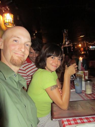 Julia and Baldman at dinner