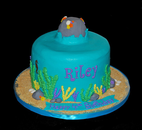 ocean scene birthday cake for a Little Mermaid themed party