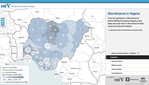 Map of microfinance banks in Nigeria showing density points on a district level