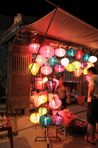 Paper lanterns for sale, at night