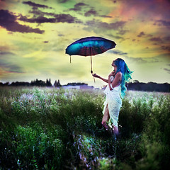 containing storms. (karrah.kobus) Tags: portrait storm girl umbrella self teal smoke coulds contained