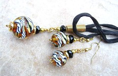 Tiger Tiger Silk Cord and Earrings (Glittering Prize - Trudi) Tags: black glass animal gold amber necklace beads handmade tiger silk jewellery round earrings jewelery trudi lampwork topaz goldstone glitteringprize