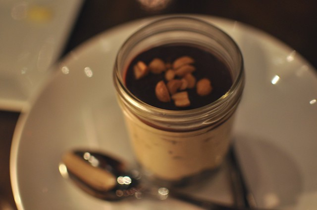 peanut butter chocolate dessert in a jar