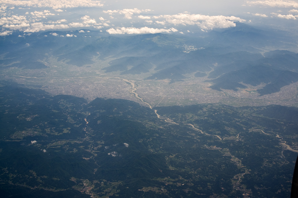 Nagano City view from airplane