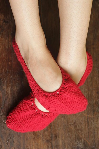 A Common Thread   finished project: knit ballet slippers