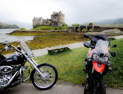 Tiger Harley Eilean Donan (1 of 1) (redxjs) Tags: summer castle rain scotland tiger harleydavidson triumph tigger eilean donan scotchmist 800xc