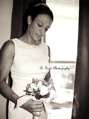 The bride (R. Fazio) Tags: wedding blackandwhite woman bride married marriage bouquet indoorshot flowersweddingdressbrunette