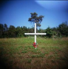 roadside memorial, black river falls (Amy Fichter) Tags: summer film analog mediumformat cross lofi july slidefilm roadsidememorial e6 fujiastia100 holga120cfn 2011 highway27 blackriverfallswisconsin roadtrip2011