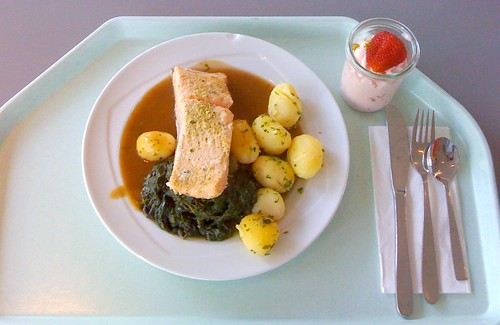 Pochiertes Lachs auf Blattspinat / Poached salmon on leaf spinach