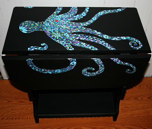 Double Drop Leaf End Table Octopus by Rick Cheadle Art and Designs