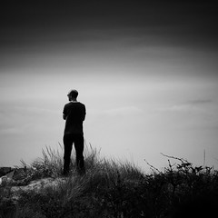 The Surveyor (Andrew Lockie) Tags: england beach square mono mood horizon dune norfolk atmosphere vista sandbank oldhunstanton lonefigure thewash