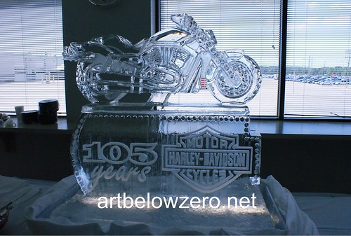 Harley 105 Years ice sculpture