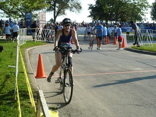 Erica gets on the bike