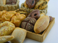 Artisan Bread (Shay Aaron) Tags: food miniature baker basket farmersmarket box handmade grain mini polymerclay fimo wholemeal baguette bakery tiny poppy pastry roll loaf 12th 112 twisted bun artisan sourdough ryebread dollhouse petit wholewheat challah ciabatta pumpernickel frensh painaulevain oneinchscale shayaaron