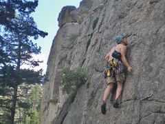 Barry Clipping Bolts on The Tower (5.10a)