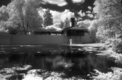Dow Gardens IR (scott_z28) Tags: trees sky blackandwhite bw house lake reflection film nature water monochrome gardens architecture modern mi landscape ir diy md minolta michigan 28mm stock historic d76 infrared epson f28 midland v300 srt101 hoya dow tricities efke r72 homedeveloped rokkor sunny16 aldenbdow ir820