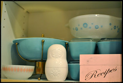 One of my cabinets (Megan Alisa Photography) Tags: pink kitchen diamonds turquoise ufo atomic pyrex glasbake russiannestingdoll vintagepyrex