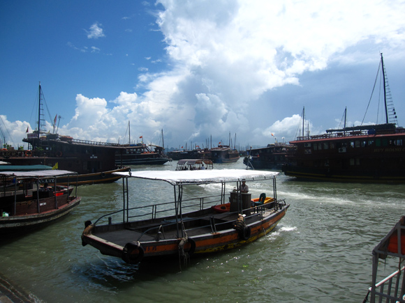 Getting on the boat at Halong Bay