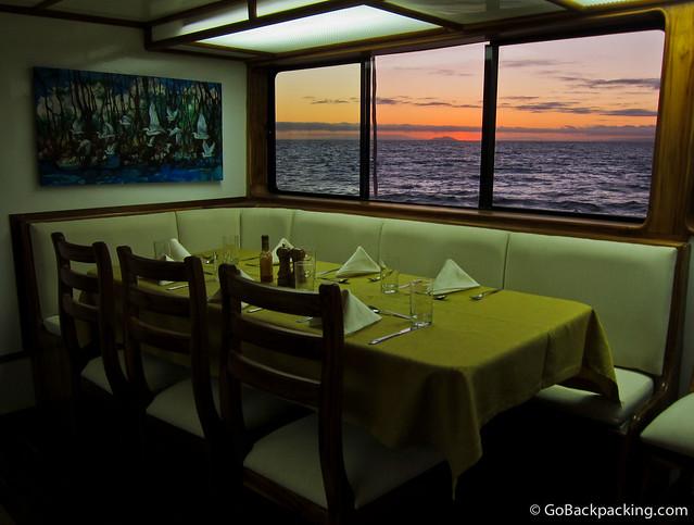 Dining room on Eden Yacht