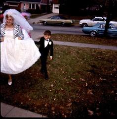 Leopard-Print Wedding Day (Wires In The Walls) Tags: pink autumn ohio found bride kodak slide bridesmaids tuxedo squareformat scanned leopardprint 1960s weddingdress fordmustang residential ektachrome pinkhouse suburbuia