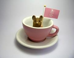Mouse in Tea Cup (Quernus Crafts) Tags: pink brown cup tea teacup keepcalmanddrinktea polymerclayquernuscraftscutemousemice