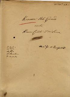 Copertina fascicolo relativo alla causa del divorzio di Edoardo Kramer, 1864 - 1865, ALPE, Famiglie, Kramer