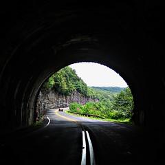 NC - Blue Ridge Parkway - Exiting the Craggy Flats Tunnel (scott185 (the original)) Tags: contrast nc exposure northcarolina crop saturation blueridgeparkway picnik mountmitchellstatepark craggyflatstunnel milepost3655 mountmitchellstateparkrestaurant milepost3554