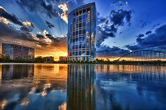 Anadarko Tower reflected in Lake Robbins