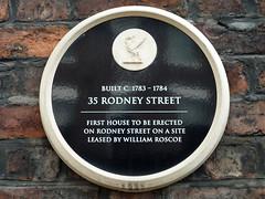 Photo of William Roscoe black plaque