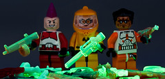 Stockpiling Nuclear Weaponry... (~Ghost Soldier~) Tags: lego blacklight swirl trans hazmat raygun prototypes gitd aa12 brickarms jflr