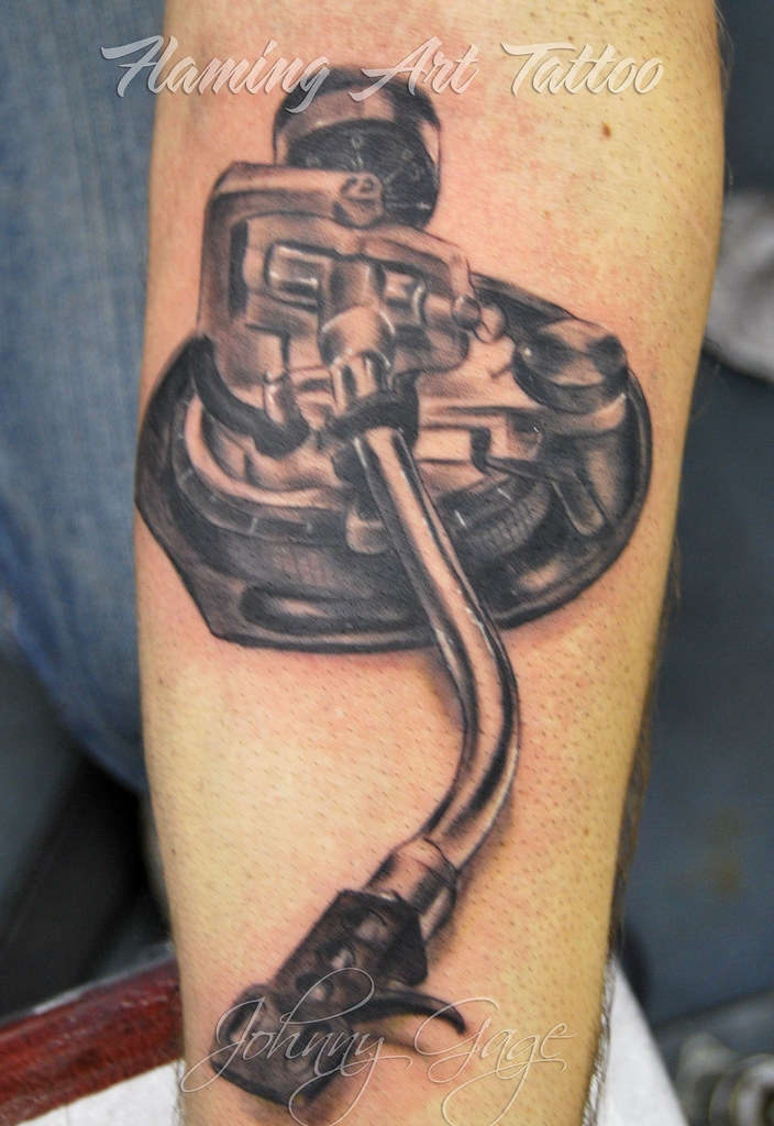 Record Player Arm Thing Tattoo Johnny Gage Tags Blackandwhite Ink Skin Highlights