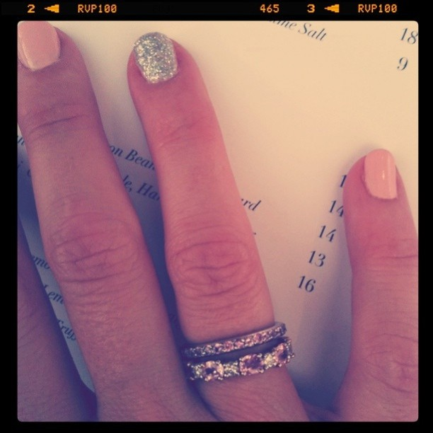 New rings... Pink sapphires and diamonds... to match my engagement & wedding bands.