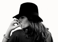 Chapeau (Grazia Di Pisa) Tags: portrait bw white black girl hat sepia self nikon chapeau 1855 d90