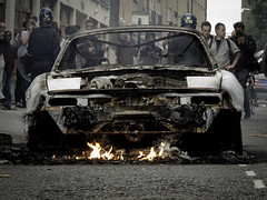 London is Burning (Sven Loach) Tags: uk england london car shop canon fire riot cops britain flames photojournalism police august explore burning cameras hackney mazda coppers carhartt mx5 reportage onlookers eastlondon g12 2011