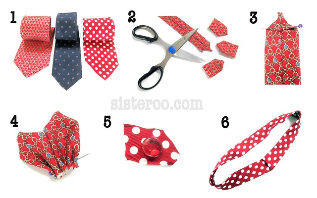Necktie Flower Headband Tutorial