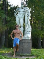 P1020814 (Amberboy) Tags: shirtless sculpture guy barefoot