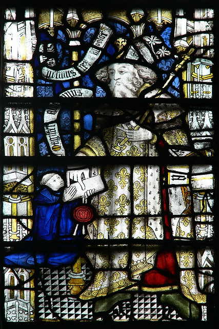 medieval stained glass, William I giving a charter to Aldwin.