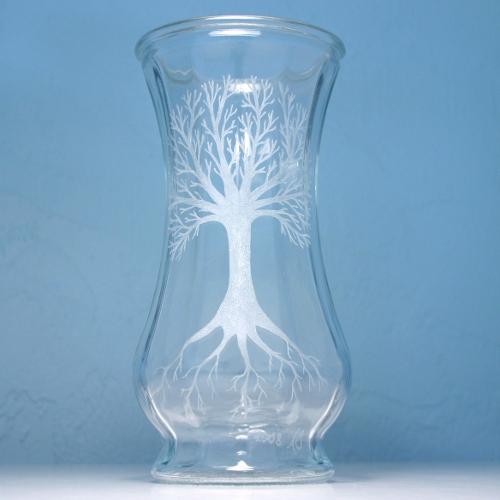 friendly vase eco engraved dremel reclaimed salvaged glassvase etchedglass sandblasted upcycled handengraved breadandbadger salvadged etchedglassvase
