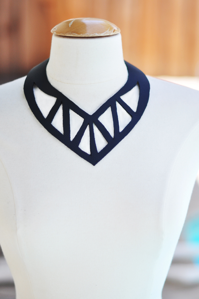 black leather cut out necklace DIY