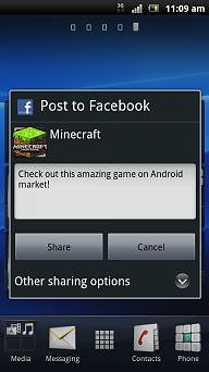 Facebook Inside Xperia games