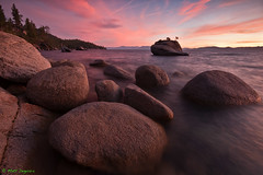 Sunset Bonsai (MattyD90) Tags: trees sunset sky reflection water clouds laketahoe boulders shore northshore granite choppy bonsairock