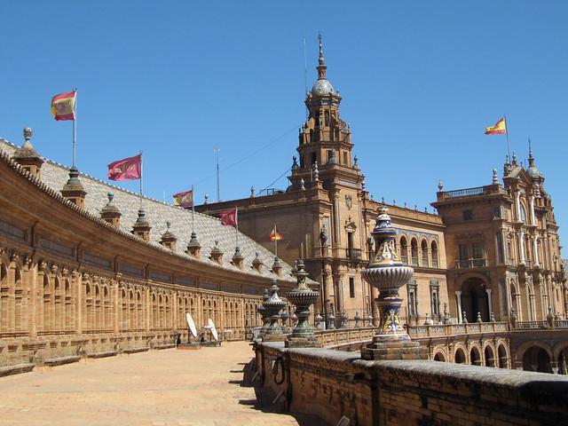 Plaza de Espana Seville flags