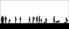 The passing parade (adrians_art) Tags: people dogs monochrome silhouettes whitstable