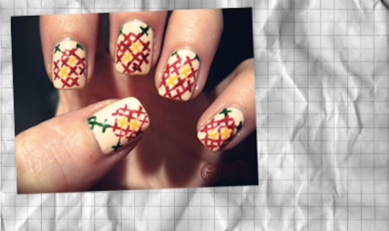 DIY cross stitch nail manicure p