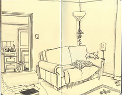 LivingRoomCorner (AnnieM00) Tags: moleskine home pen pencil ink notebook sketch drawing livingroom couch sofa