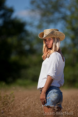 Cowgirl 8 (StuartM1) Tags: blue summer woman ontario canada hot sexy girl field hat standing eyes women blueeyes canadian jeans short cowgirl cowboyhat cutoffs leatherbelt
