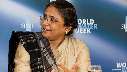 Sheela Patel, chair of SDI board, at World Water Week in Stokholm