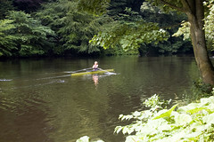 Rower (Patrick Costello) Tags: uk england green d50 durham riverwear rowingboat