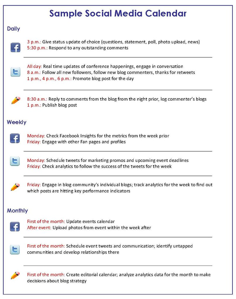 Social Media Marketing How to Get a Handle on Your Social Media – Sample Social Media Calendar