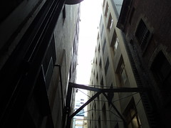 Where the rooftops meet (Alison Claire~) Tags: city dark alley rooftops melbourne alleyway narrow